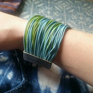 Reversible blue and green thick band bracelet